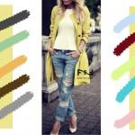 С чем сочетается нежно-желтый цвет в одежде, с какими цветами сочетаются джинсы