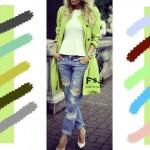С чем сочетается яблочно зеленый цвет в одежде, с какими цветами сочетаются джинсы