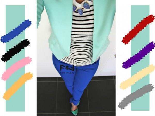 С чем сочетается мятный цвет в одежде, С чем сочетается королевский синий цвет в одежде