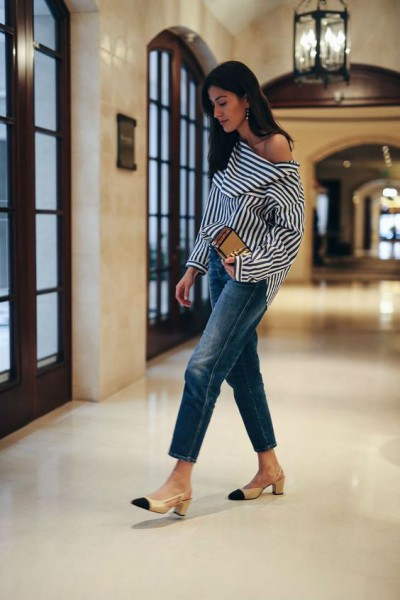 С чем носить джинсы дудочки