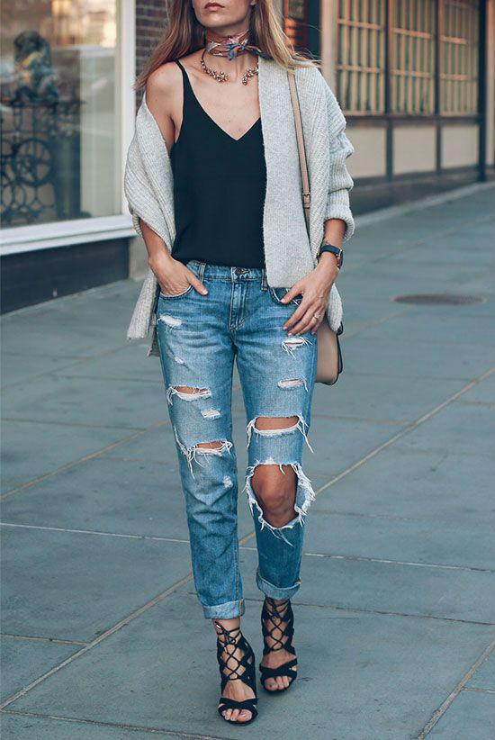 Сочетание топа с джинсами