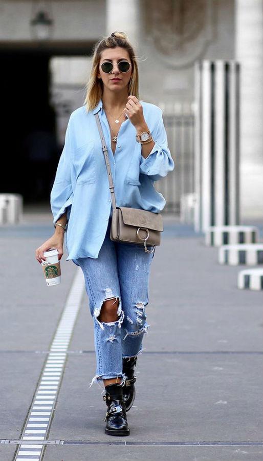 Блуза с рваными джинсами