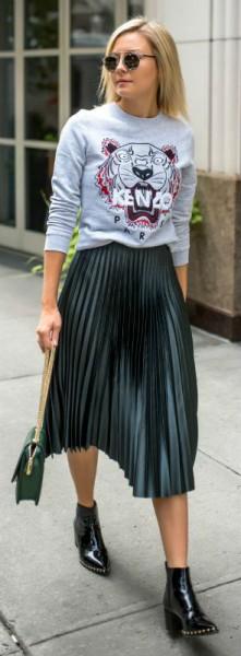 Стильный образ с юбкой плиссе
