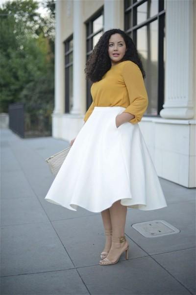 Какие юбки и блузки носить с фигурой яблоко