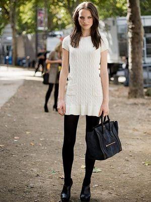 черные колготки под белое платье