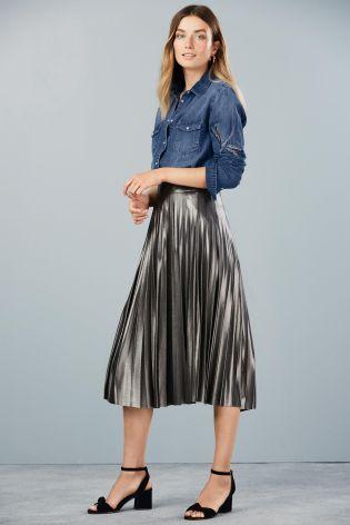 джинсовая рубашка с юбкой плиссе