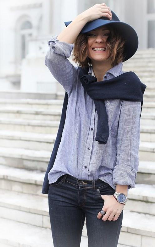 образ с джинсовой рубашкой