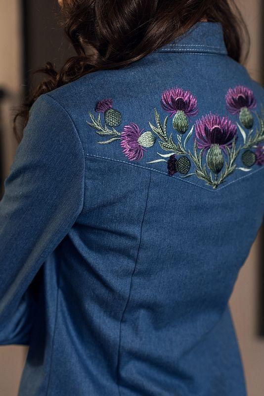 джинсовая рубашка с вышивкой с чем носить