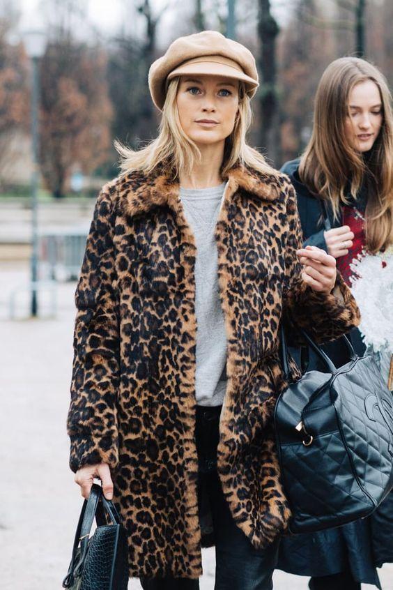 как носить леопардовый принт зимой
