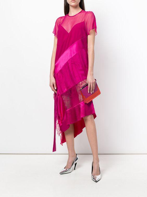оригинальное розовое платье