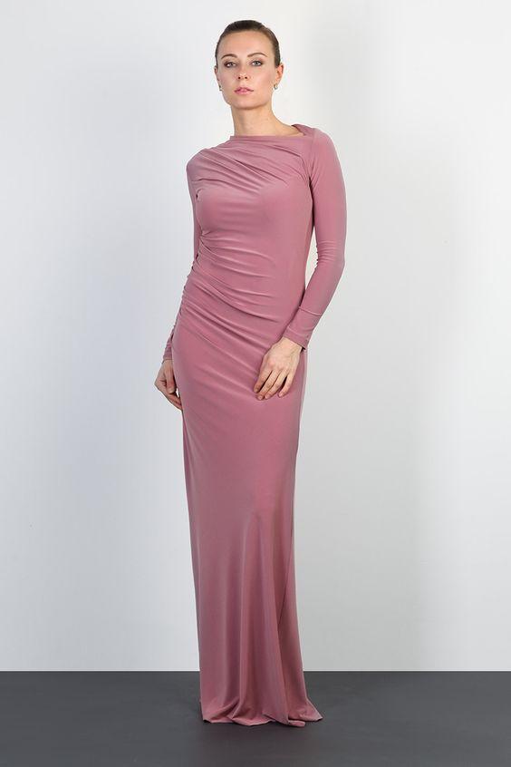 платье в пол розового цвета
